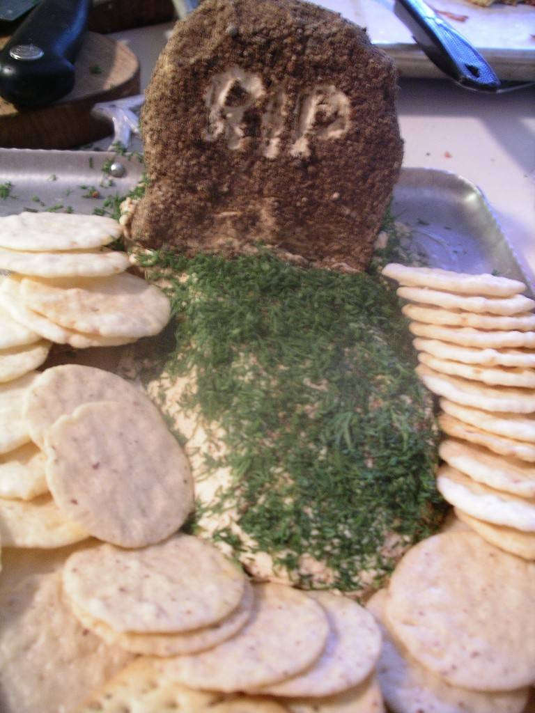 gravestone cheese with crackers