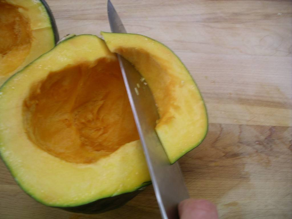 cutting wedges of squash