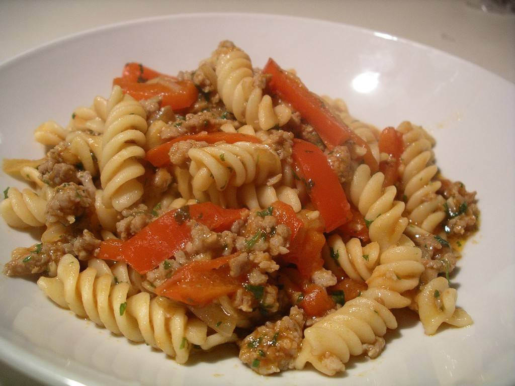 winter pasta with sausage and peppers