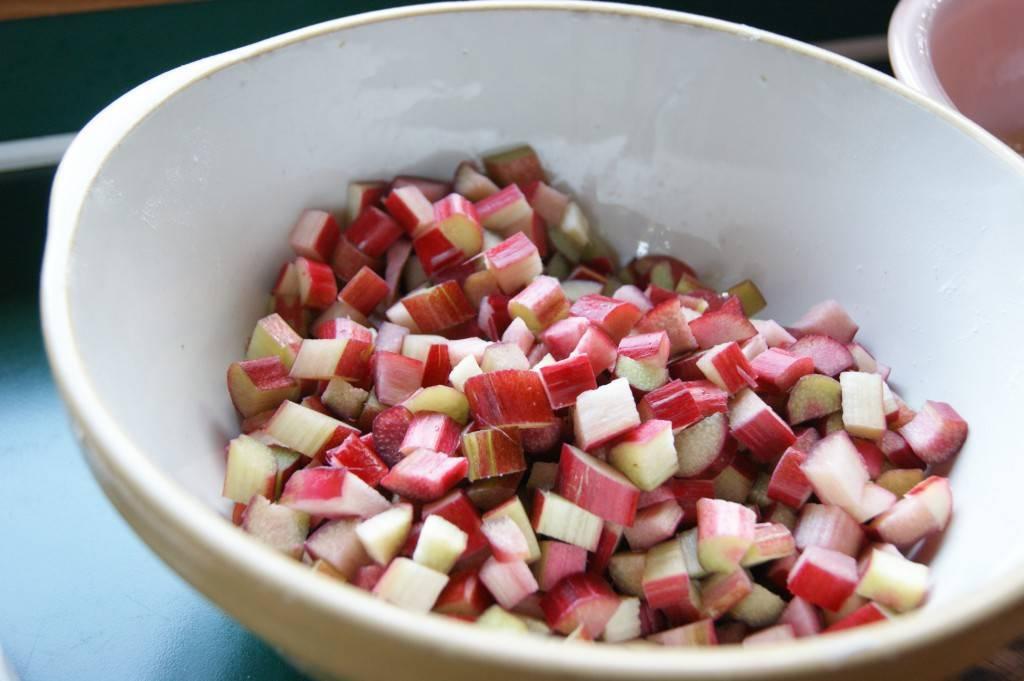 Chopped rhubarb in a large ceramic bowl
