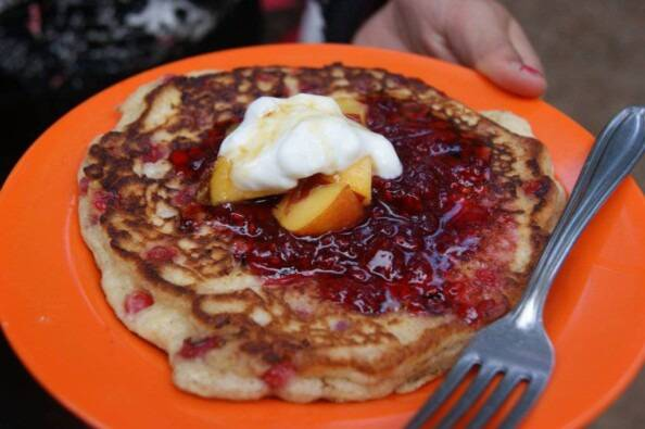 well-dressed huckleberry pancake