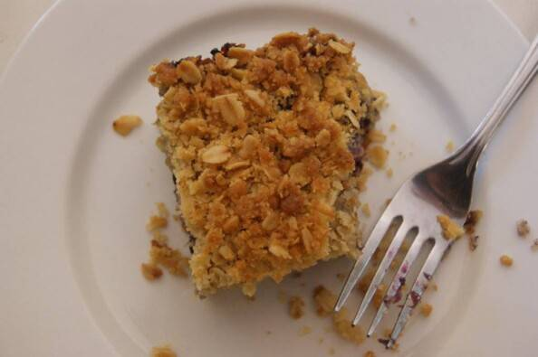 blueberry buckle bars with oatmeal streusel and lemon