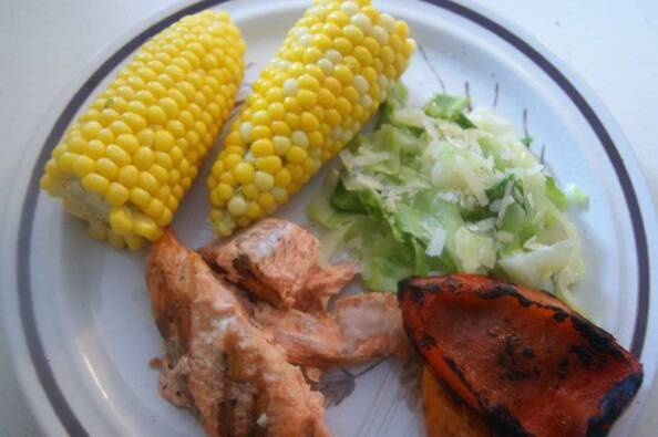 simple west coast summer meal on a plate