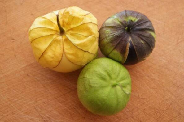 Yellow Purple Green Tomatillos