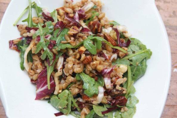 Warm Farro Salad with Greens