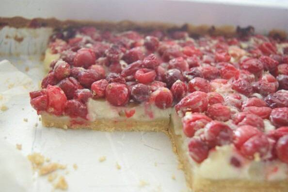 Cranberry Custard Bars in the Pan
