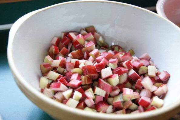 Chopped Rhubarb in a bowl