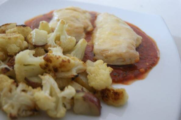 Chicken Parmesan with Roasted Cauliflower