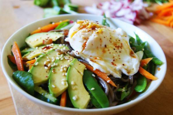 cold soba noodle salad with avocado and poached egg