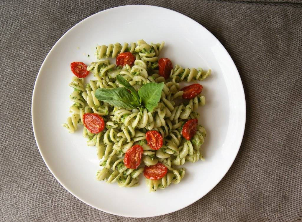 garlic scape pesto with sourdough pasta