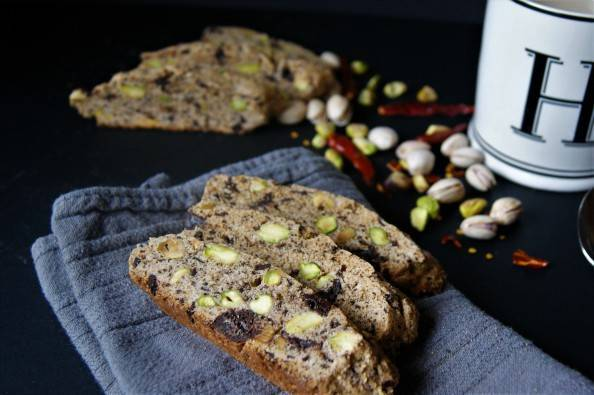 homemade chocolate pistachio biscotti