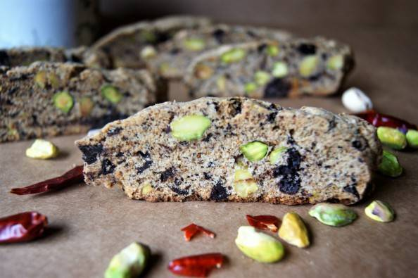 Pistachio Chocolate Chili Biscotti