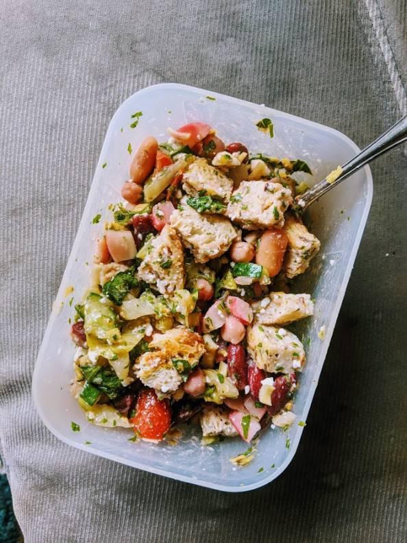 panzanella bean salad