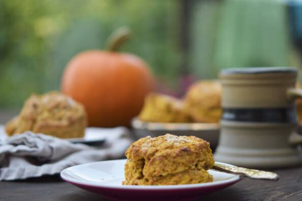 Pumpkin scone on a small white plate, with a large tray of scones and a mug of tea in the background